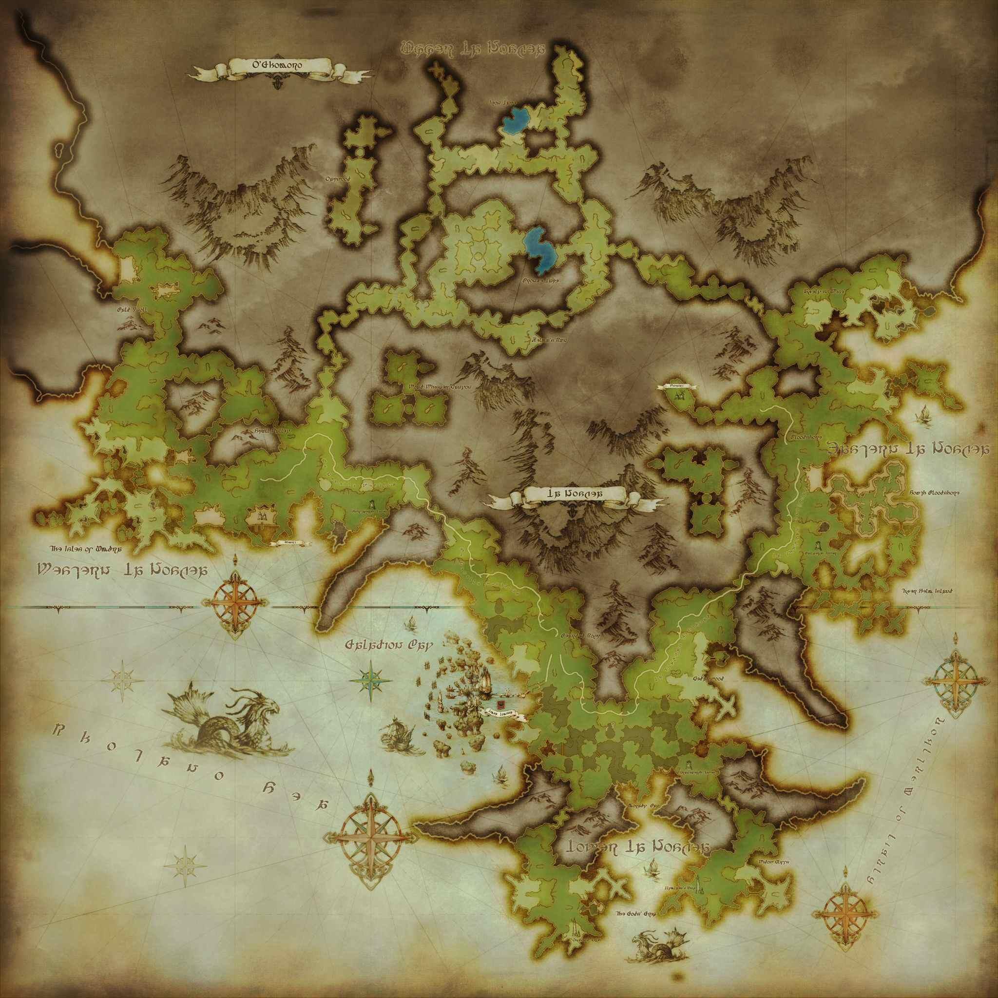 Final Fantasy 13 World Map.La Noscea Maps Ffxiv A Realm Reborn Info Ff14
